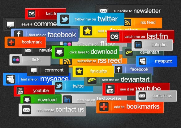 social media and web button pack download