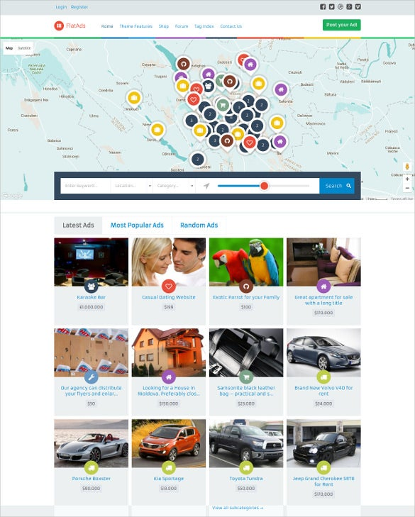 flat classified ads html5 wordpress theme
