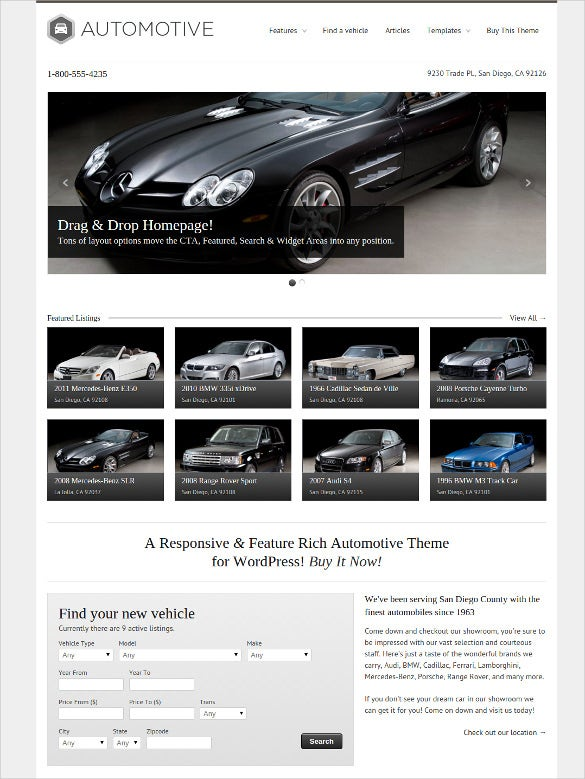 automotive classified html5 wordpress theme