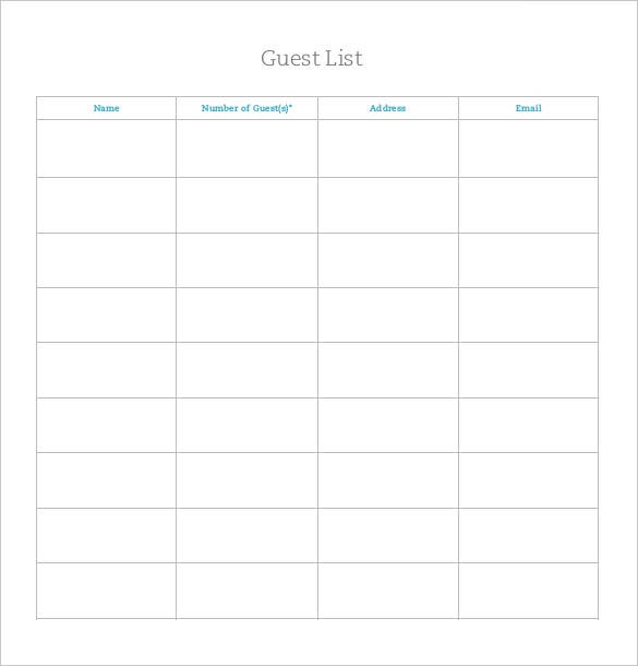 13 Wedding List Templates Free Sample Example Format Download – Sample Wedding Guest List