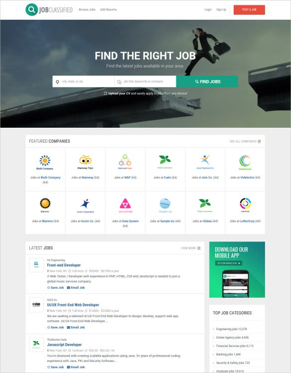job classified ads html5 website template