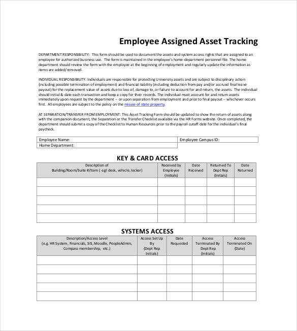 Asset Tracking Templates  Free Sample Example Format Download