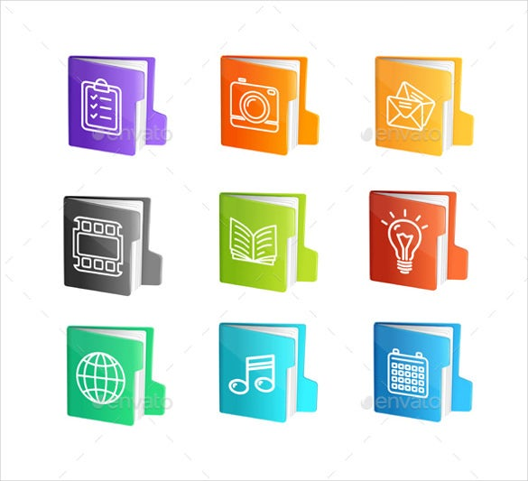 file folder colorful icons set