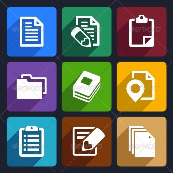 documents and folders flat icons