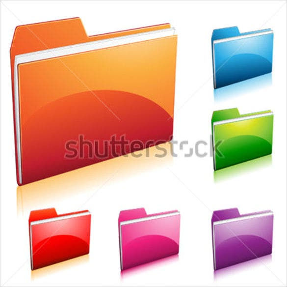 set of colorful folder icons set