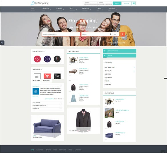 shopping classified html5 website template