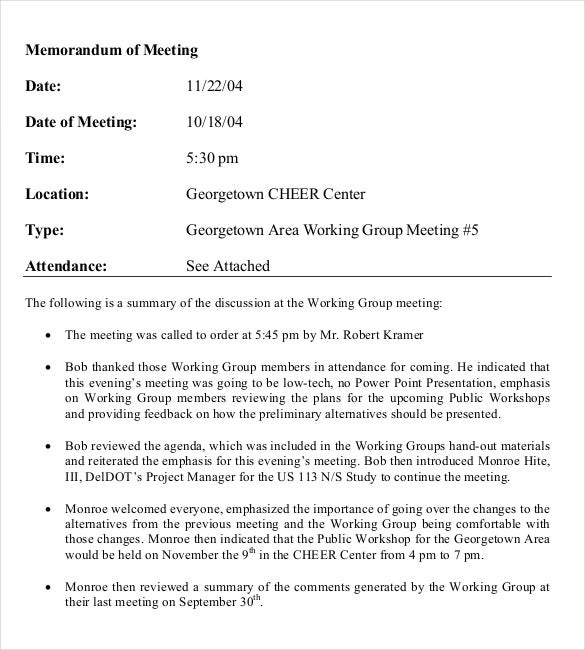 Memorandum Of Meeting Template Free PDF Download  Memo Template Word