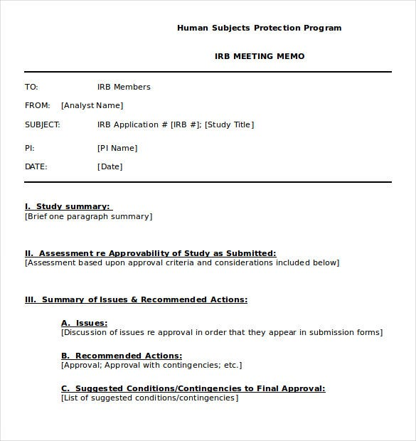 Meeting Memo Template. Executive Memo Template – 7+ Download Free