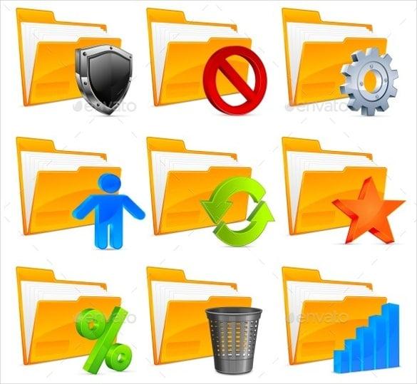 nine folder icons