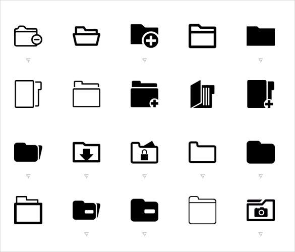 38 lined style folder icons for photoshop