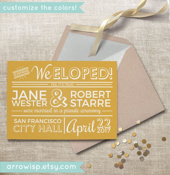 This Simple Wedding Announcement Card Template Is Designed In Retro And Vintage Style An Ideal To Let The World Know About Surprise