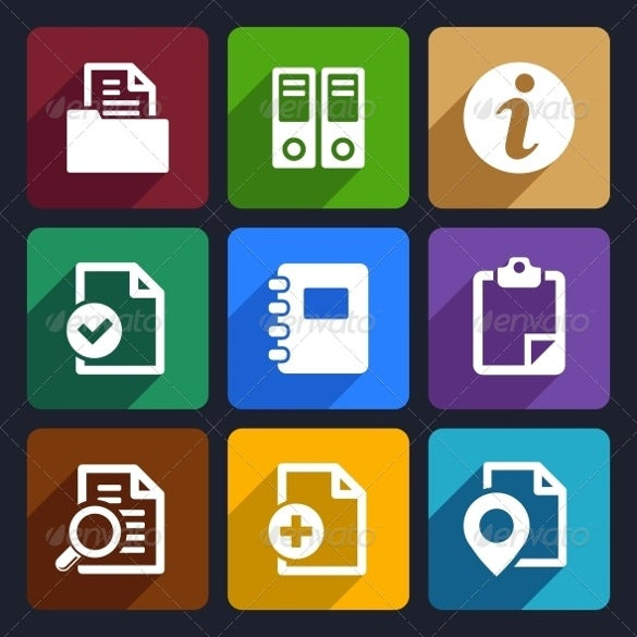 documents and folders flat icons set