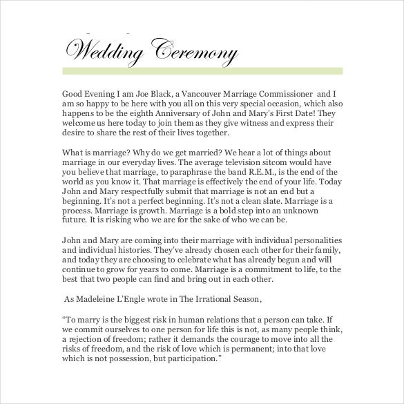 19+ Wedding Ceremony Templates – Free Sample, Example, Format ...