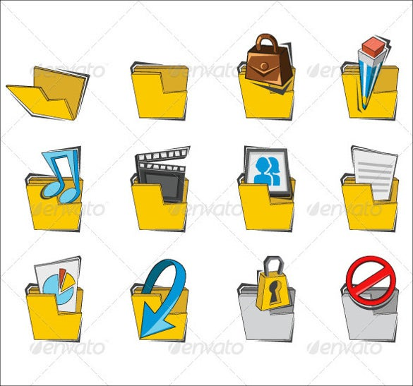 folder icon collection set