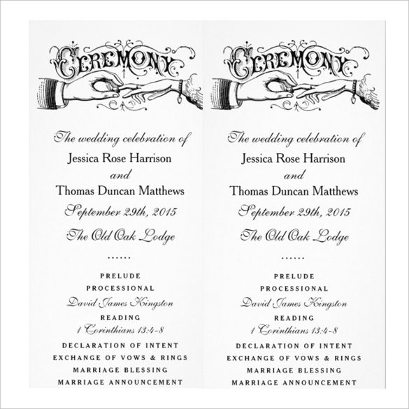 19 wedding ceremony templates free sample example for Wedding blessing order of service template