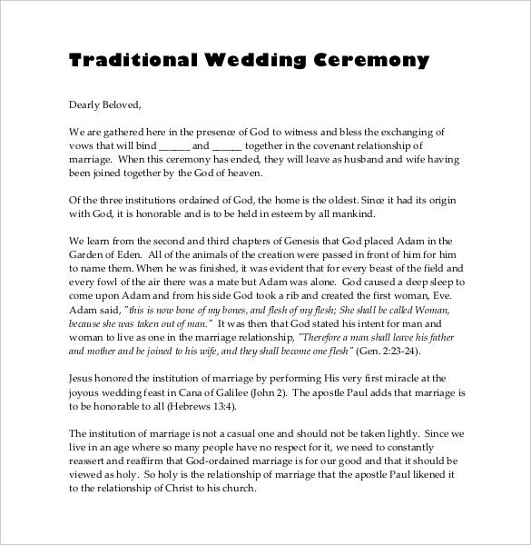 19 wedding ceremony templates free sample example format