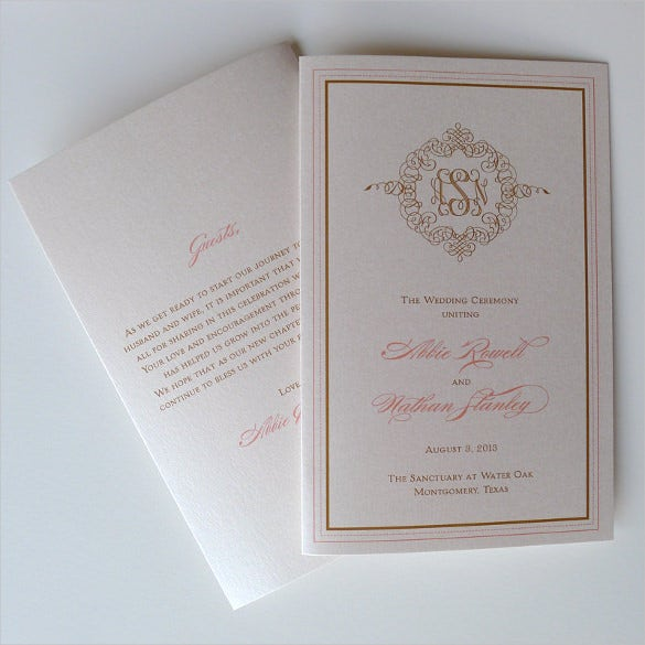 monogram wedding ceremony template download