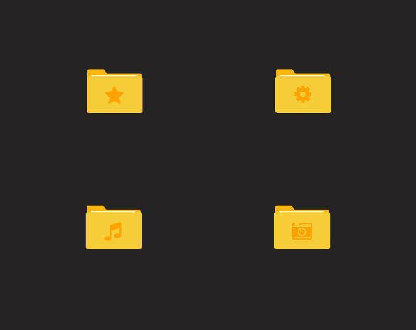 yellow folder icons set