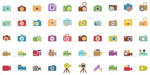 colourful camera icons