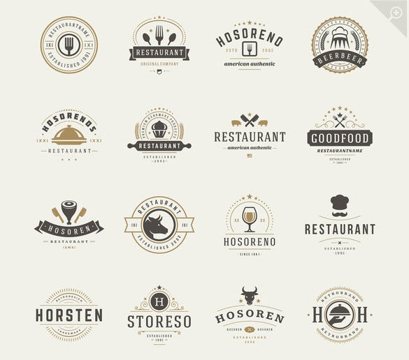 set of restaurant logos