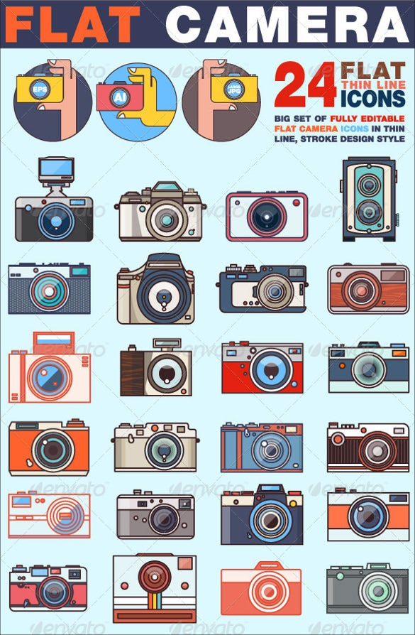 flat camera icons bundle