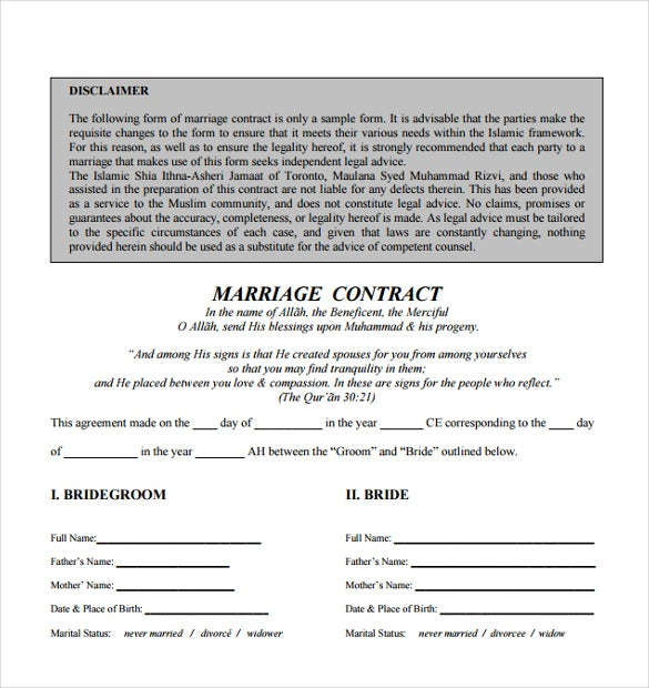 Wedding Contract Template Free Download