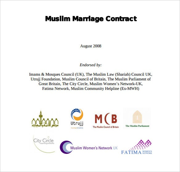 muslim wedding contract template for free download