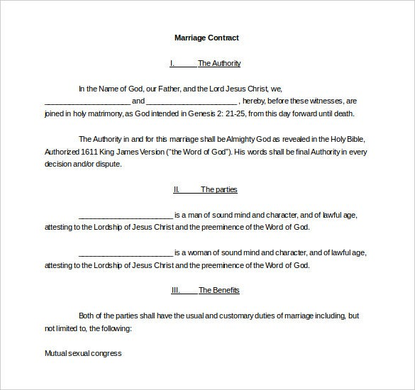 legal wedding contract template for free download