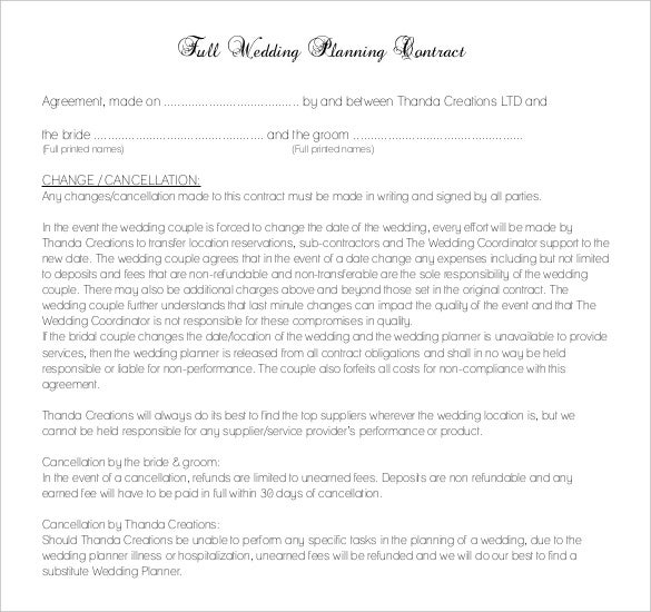 wedding planer contract template download