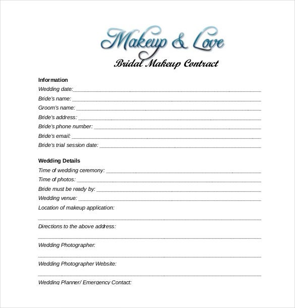 Wedding Hair And Makeup Template Free : 16+ Wedding Contract Templates Free Sample, Example ...