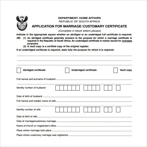 print ready wedding contract certifcate template