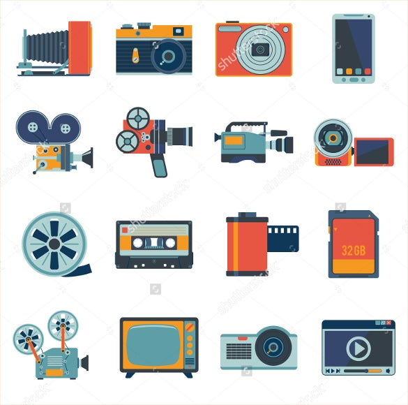 multimedia camera icons