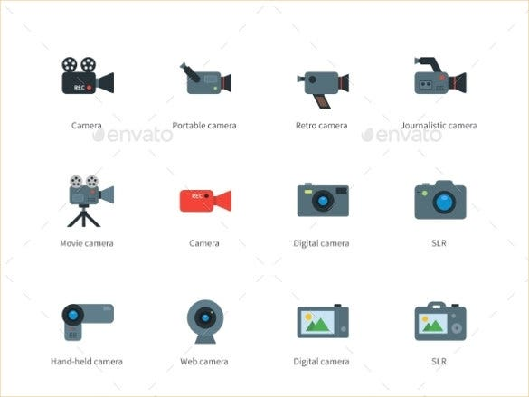 flat design camera icons set