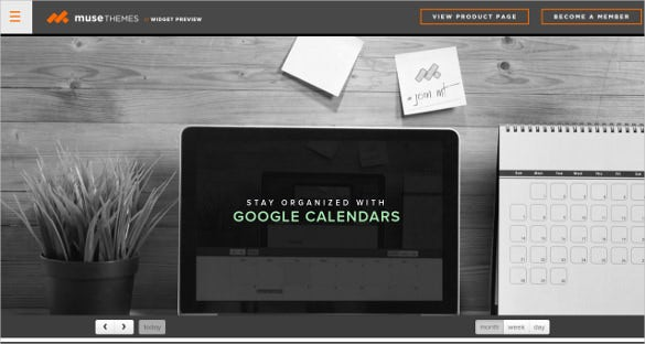 free google calender muse theme