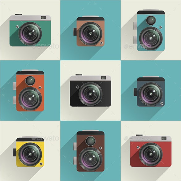 set of coloured camera icons
