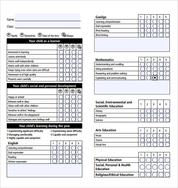 Free Academic Report Card Template Pdf Format