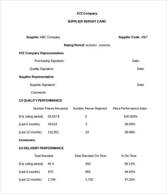 company supplier report card template word format download