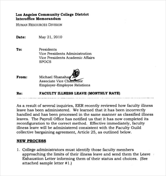 faculty interoffice leave memo template in pdf