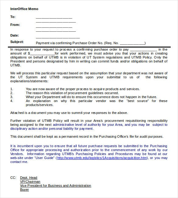 procurement interoffice memo word document download
