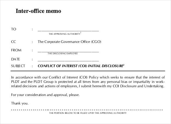 Interoffice Memo Template 7 Free Word PDF Documents Download – Inter Office Letter