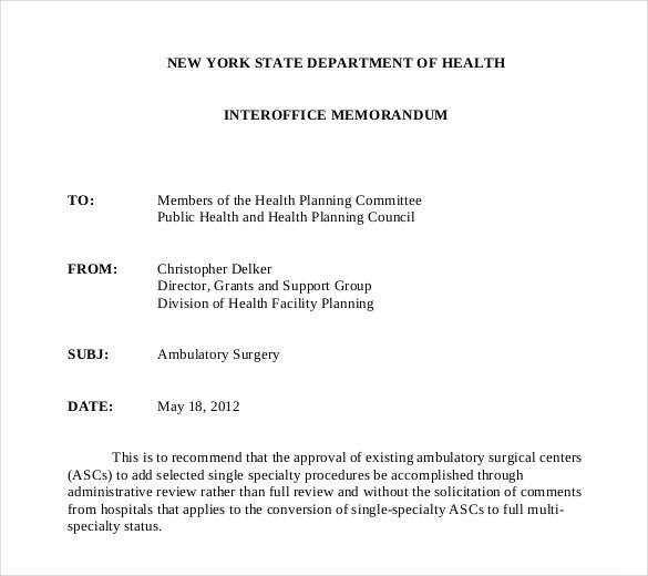 Marvelous Ambulatory Surgery Interoffice Memorandum Template Download In PDF To Example Of Interoffice Memo