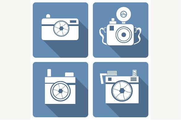plain blue coloured camera icons