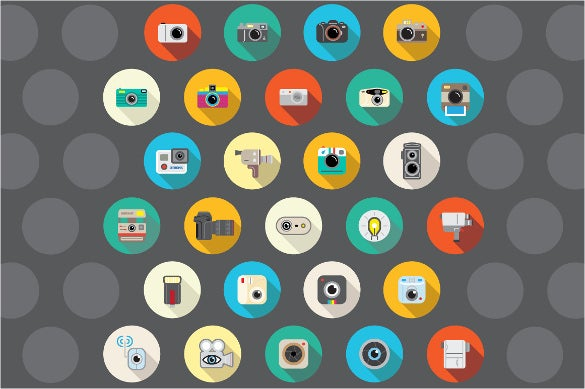 27 flat camera icons bundle
