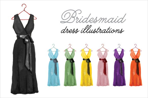 bridesmaid dress illustrations patterns premium download