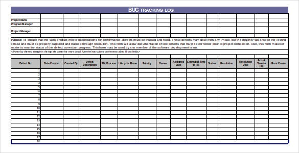 bug trackinglog excel format download