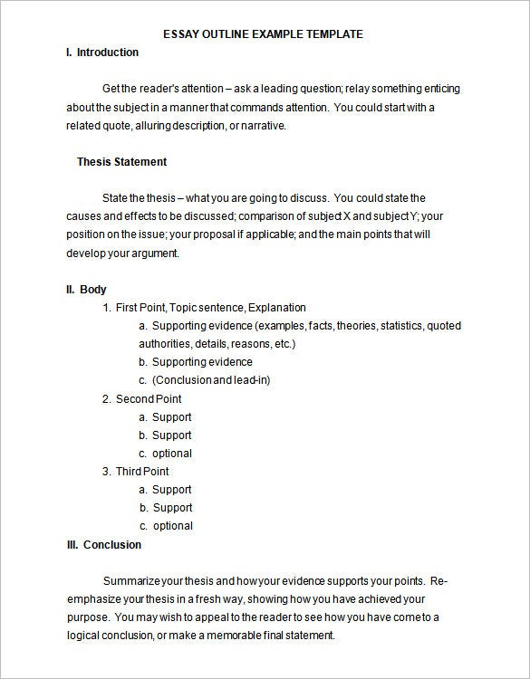 essay outline example free word doc editable download - Example Of An Essay Outline Format