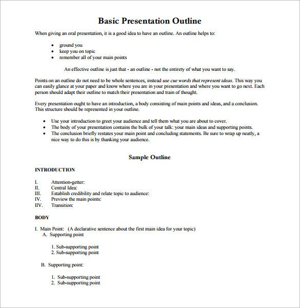 outline templates sample example format  basic presentation outline pdf