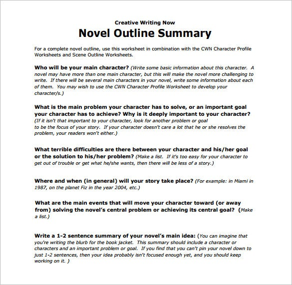 creative writing novel outline