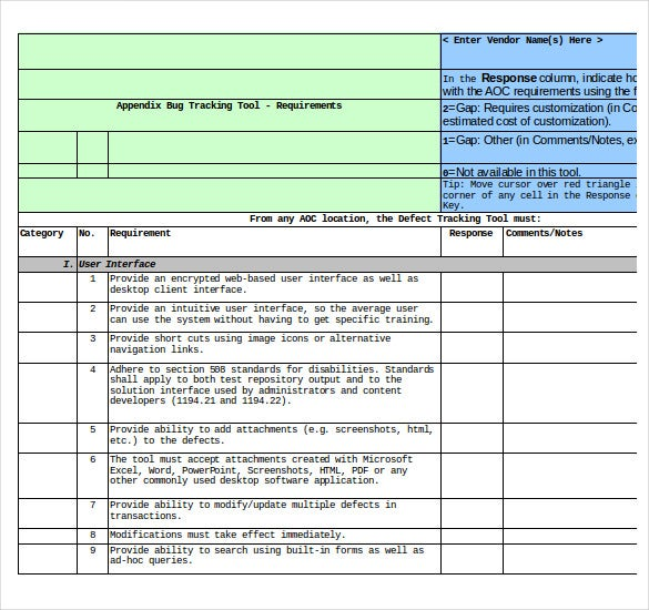 bug tracking templates free sample example format download
