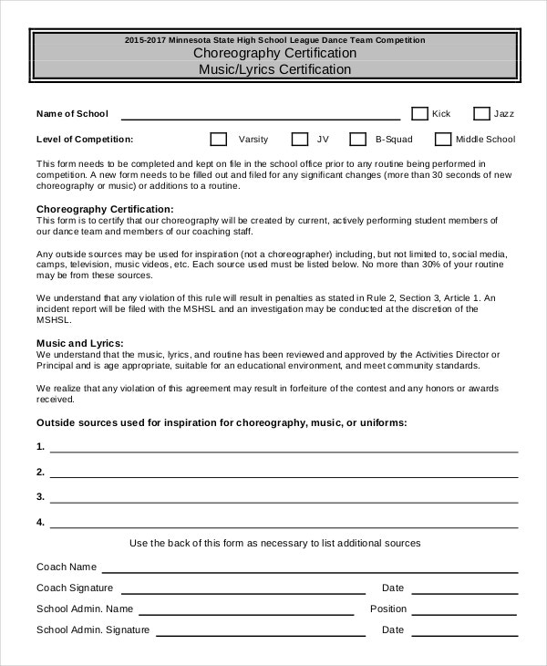 Dance certificate template 6 free word excel pdf for Dance contract template